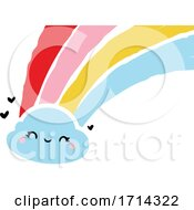 Poster, Art Print Of Painted Style Cute Cloud With A Rainbow