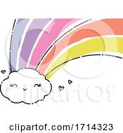 Poster, Art Print Of Watercolor Cute Cloud With A Rainbow