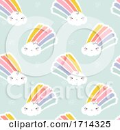 Poster, Art Print Of Seamless Pattern Of Cute Clouds With Rainbows