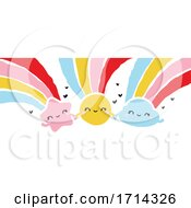 Poster, Art Print Of Painted Style Cute Shooting Star Sun And Cloud With Rainbows Holding Hands