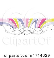 Poster, Art Print Of Watercolor Cute Shooting Star Sun And Cloud With Rainbows Holding Hands