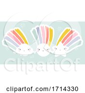 Poster, Art Print Of Pastel Cute Shooting Star Sun And Cloud With Rainbows Holding Hands