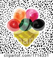 Poster, Art Print Of Watercolor Styled Waffle Ice Cream Cone On Dots