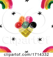 Watercolor Painted Styled Rainbow And Ice Cream Seamless Background Pattern