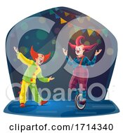 Circus Clowns Performing On Stage by Vector Tradition SM