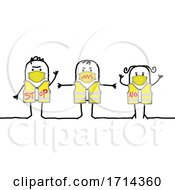 Poster, Art Print Of Stick People Wearing Vests And Coronavirus Masks