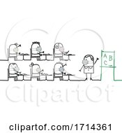 Poster, Art Print Of Stick Children And A Teacher Wearing Coronavirus Masks In A Class Room