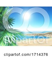 3D Tropical Beach Scene With Palm Trees