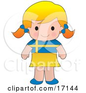 Cute Blond Swedish Girl Wearing A Flag Of Sweden Shirt Clipart Illustration