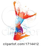 Happy Woman Jumping With Splatters And Splashes
