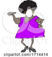 Cartoon Woman Wearing A Mask And Presenting