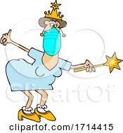 Cartoon Coronavirus Fairy Godmother Wearing a Mask and Holding a Wand by djart #COLLC1714415-0006