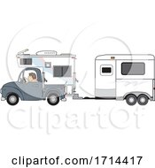 Woman Driving A Pickup Truck With A Camper And Hauling A Horse Trailer by djart