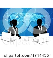 Poster, Art Print Of News Anchor Silhouette Tv Reporter Presenters