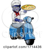 Panther Chef Pizza Restaurant Delivery Scooter by AtStockIllustration #COLLC1714436-0021