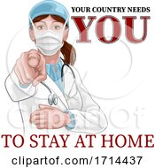 Doctor Woman Needs You Stay Home Pointing Poster by AtStockIllustration #COLLC1714437-0021