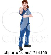 Doctor or Nurse Woman in Scrubs Uniform Pointing by AtStockIllustration #COLLC1714438-0021
