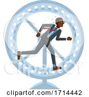 Tired Stressed Business Man Running Hamster Wheel