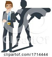 Businessman Super Hero Shadow Cartoon Mascot