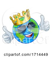 Poster, Art Print Of Earth Globe King Sunglasses Cartoon World Mascot