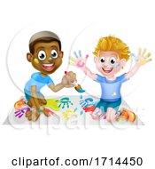 Poster, Art Print Of Cartoon Boys Painting