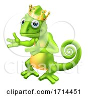 05/27/2020 - Chameleon King Crown Cartoon Lizard Character