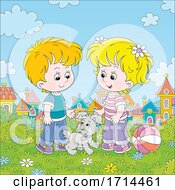 Poster, Art Print Of Children With A Puppy In A Park