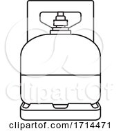Black And White Outline Gas Cylinder