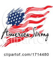 Waving USA Flag And American Strong Text