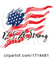 Waving American Flag And USA Strong Text