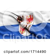 3D Illustration Of The Italian State Flag Of Trentino South Tyrol Waving In The Wind