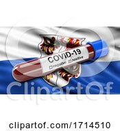 Italian State Flag Of Trentino South Tyrol Waving In The Wind With A Positive Covid 19 Blood Test Tube