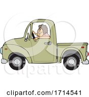 Cartoon Happy Woman Driving a Pickup Truck by djart #COLLC1714541-0006