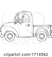 Cartoon Black and White Happy Woman Driving a Pickup Truck by djart #COLLC1714542-0006