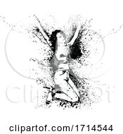 Poster, Art Print Of Grayscale Woman Jumping With Splatters And Splashes