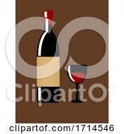 Vintage Wine Bottle And Glass On Brown Background
