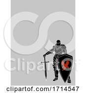 Warrior Knight Hand Drawn On Blank Gray Background