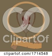 Wooden Shield With Eagle And Blank Vintage Banner