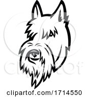 Scottish Terrier Head Mascot Black And White
