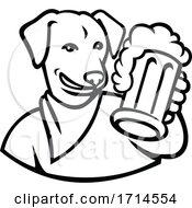 Poster, Art Print Of English Lab Dog Beer Mug Black And White