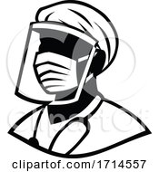 Medical Professional Wearing Face Mask Black And White