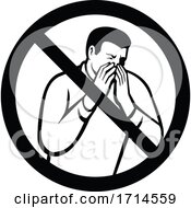 No Sneezing Or Coughing Into Hand Sign Black And White