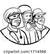 Essential Workers Wearing Mask As Heroes Black And White Retro