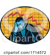 Depressed Businessman Wearing A Mask Over A Decline Arrow