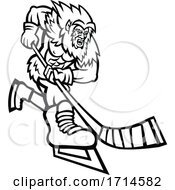Yeti Ice Hockey Player Black And White