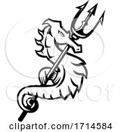 Seahorse With Trident Mascot Black And White