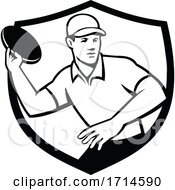 Poster, Art Print Of Disc Golf Player Throwing Crest Black And White