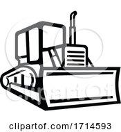 Vintage Bulldozer Black And White