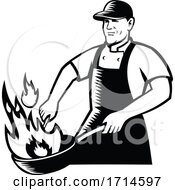 Chef Cooking Flaming Pan Black And White