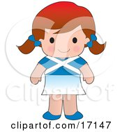 Cute Scottish Girl Wearing A Flag Of Scotland Shirt Clipart Illustration